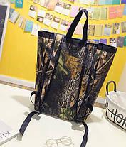 Большая сумка рюкзак трансформер с принтом природы, фото 3