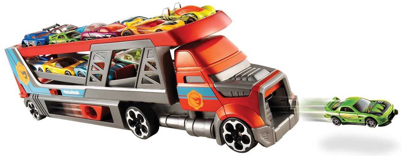 Автовоз Хот Вилс пускатель перевозчик мега тягач Hot Wheels Rig City Blastin