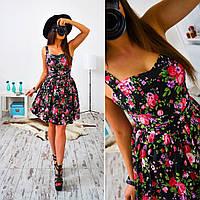 Платье женское 33009 Коттоновое цветочное платье