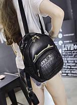 Стильный рюкзак с рожками и вставкой под крокодил, фото 2
