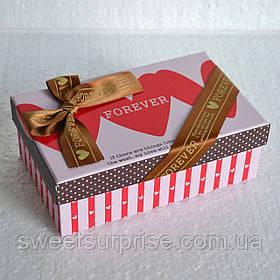 Прямоугольная подарочная коробка  (сердца) (мини)