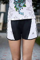 Летние спортивные женские шорты со средней посадкой и боковыми вставками полиэстер
