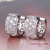 Серьги Стерлинговое Серебро 925 двусторонние с фианитами, фото 1