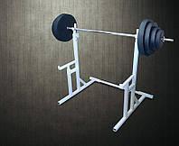 Стойки для приседаний со страховочными упорами + Штанга 94 кг(стойка для штанги)