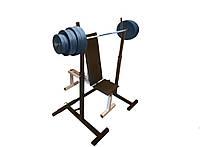 Скамья для жима + Стойки для приседаний + Штанга 82 кг (жим лёжа)