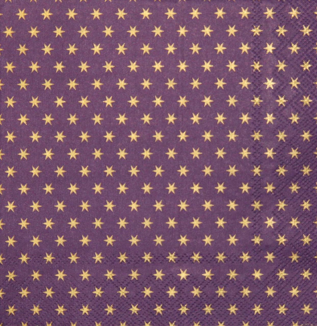 Салфетки декупажные Звёздочки на фиолетовом фоне 670