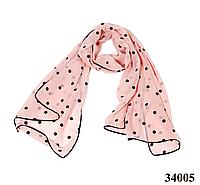 Шарф шифоновый в горошек бледно-розовый, фото 1