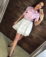 """Оригинальное, молодежное платье """"Низ - гипюровая пышная юбка, верх - рубашечный покрой"""" РАЗНЫЕ ЦВЕТА"""