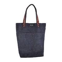 Джинсовая стильная сумка с ручками шоколадного цвета