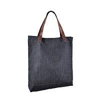 Джинсовая удобная сумка з ручками шоколадного цвета