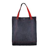 Джинсовая удобная сумка с ручками красного цвета