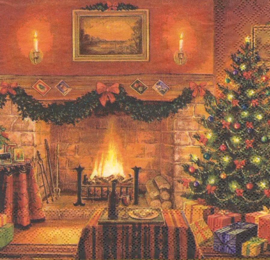 Салфетки для декупажа Новогодний вечер у камина 695
