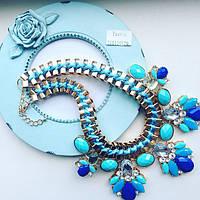 Колье женское Эсферро синее, магазин бижутерии
