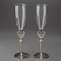 """Свадебные бокалы """"Сердечки"""" на металлической ножке, красивые и оригинальные бокалы"""