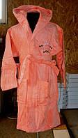 Nusa m010036 Халат детский велюр/махра, бамбук 100%, Принцесса 3-4 года  персиковый