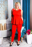 Женский стильный костюм с баской большого размера \ красный