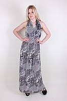 Красивый женский длинный летний сарафан серого цвета