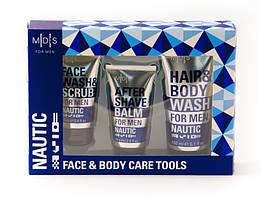 Mades Cosmetics Nautic Набор по уходу за кожей лица и тела: Шампунь для волос / Гель для душа, Гель для умывания лица/Скраб, Бальзам после бритья 150
