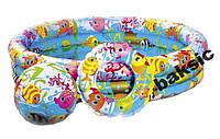 Надувной бассейн для купания, развлечения, туризма, отдыха детей. Детский Intex 59469 + мяч + круг
