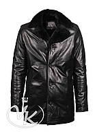Зимняя кожаная куртка длинная с мехом, фото 1