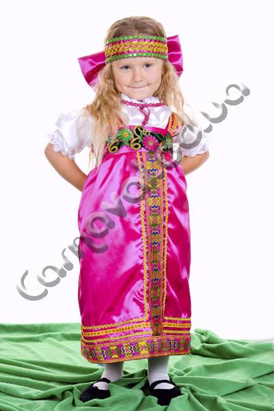 Карнавальный костюм Русская Красавица в малиновом цвете