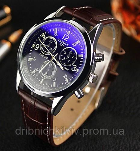Стильные мужские часы Yazole. Коричневый ремешок