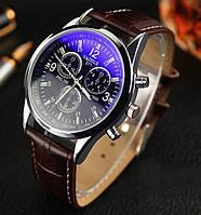 Стильные мужские часы Yazole. Коричневый ремешок, фото 1