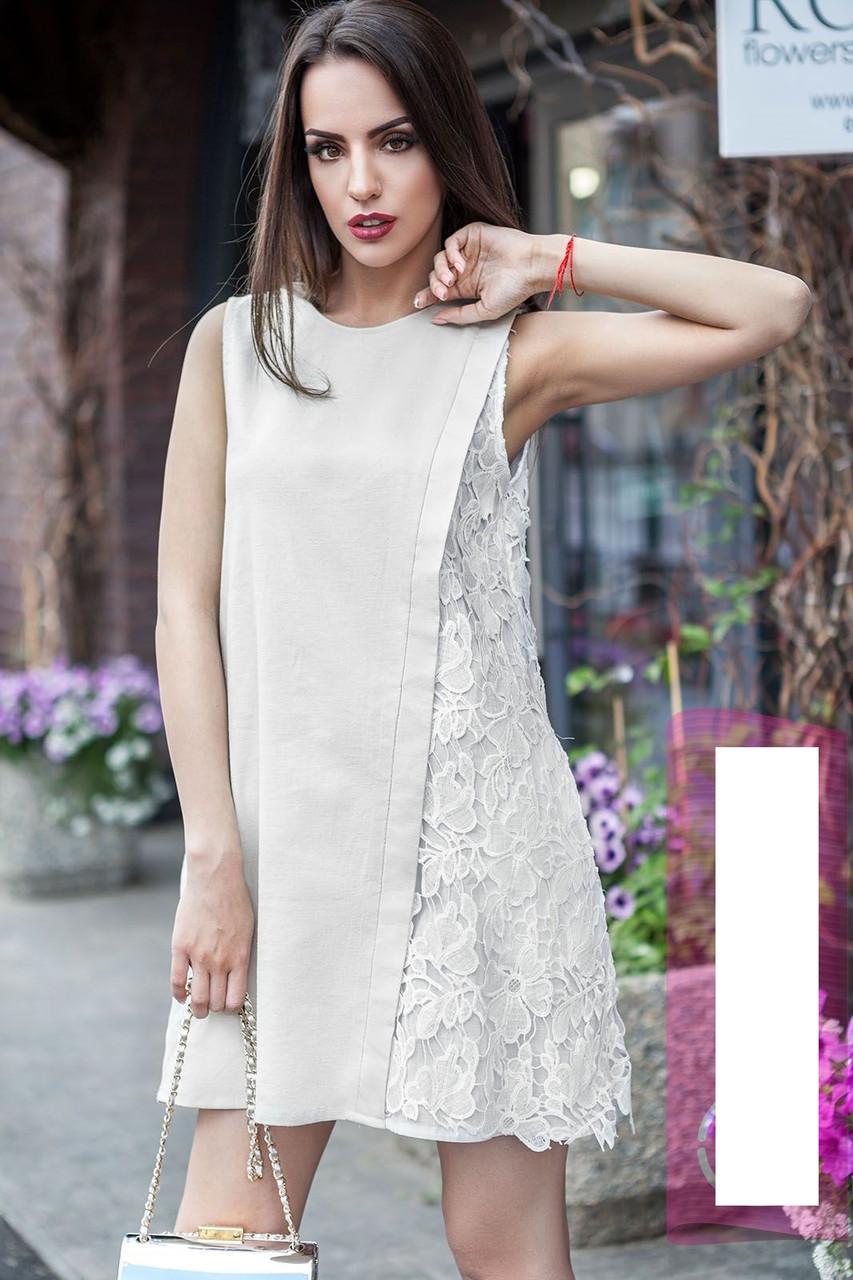 Льняное платье с отделкой из кружева