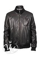 Кожаная куртка мужская бомбер с карманами, фото 1