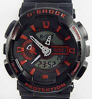 Кварцевые спортивные часы (black-red) - гарантия 6 месяцев