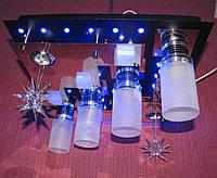 """Люстра-торт """"Космос"""" BK (темная) 450x450; Светодиодная подсветка LED - голубой, сиреневый, красный цвета; патрон E27 керамический."""