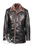 Зимняя кожаная куртка мужская с мехом, фото 1