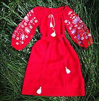 Вышитое платье летнее красный лен
