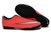 Футбольные сороконожки Nike Mercurial Victory V TF Bright Mango/Metallic Silver/Hyper Turq, фото 1