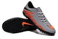 Футбольные сороконожки Nike HyperVenom Phelon II TF Wolf Grey/Total Orange/Black/Black, фото 1