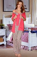 Комплект: пижама (майка и брюки) и халат (Красный, серый)