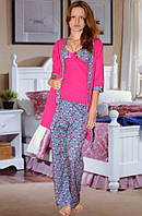 Комплект: пижама (майка и брюки) и халат (Малиновый, голубой)