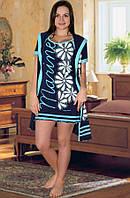 Комплект: ночная сорочка и халат (Темно синий с голубым)