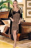 Комплект: ночная сорочка и халат (Черный, коричневый)