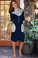 Махровый женский халат  (Темно синий)