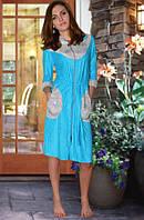 Махровый женский халат  (Голубой)