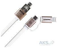 USB кабель GOLF 2-in-1 Metal Flat Gold