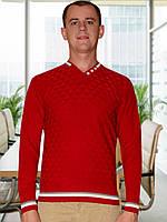 Мужской свитер (пуловер)   (Темно красный)