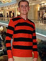 Мужской свитер (пуловер)    (Оранжевой)