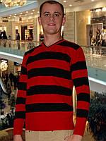 Мужской свитер (пуловер)     ( Темно красный)