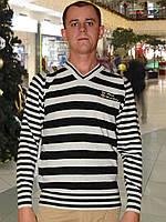 Мужской свитер (пуловер)   (Светло серый с черным)