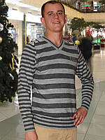 Мужской свитер (пуловер)    (Серый)