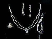 Колье набор две сияющие нити и кристаллы, серебристое (колье, серьги, кольцо, браслет)