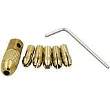 Патрон цанговый на вал 3.17 мм. зажим 0.5 мм. - 3.0 мм. + 5 цанг + ключ. Для  мини дрели, фото 2