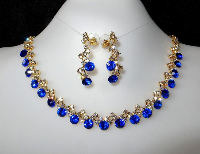 Колье набор синие камни, золотистое